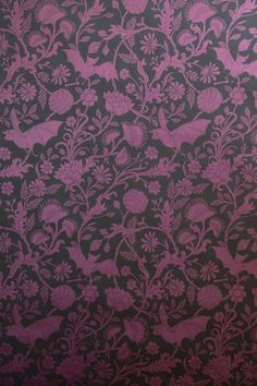Beautiful Elysian Fields hand-screened purple wallpaper. (It looks like a regular floral pattern, but it has bats and carnivorous plants mixed in... Sneaky!)