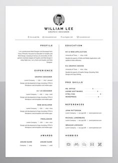 a simple, clean, minimal and professional design of Resume/CV template for people who want to present themselves as a professional. If you like this cv template. Check others on my CV template board :) Thanks for sharing! Simple Resume Template, Resume Design Template, Resume Templates, Portfolio Design, Portfolio Resume, Template Portfolio, Portfolio Ideas, Graphic Design Resume, Ux Design