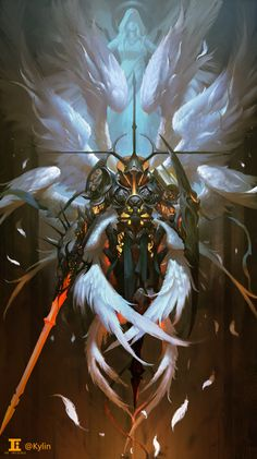 angel godfather by kylin li Spectrum The Best in Contemporary Fantastic Art Fantasy Artwork, Dark Fantasy Art, Angel Warrior, Fantasy Warrior, Armor Concept, Concept Art, Fantasy Character Design, Character Art, Illustration Fantasy