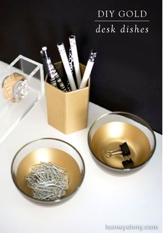 Find 25 lovely home decor DIY projects that will bring a unique feel to your living room, kitchen, or bedroom. Try turning your old glass dishware into modern gold desk organizers for a sophisticated and fun feel.