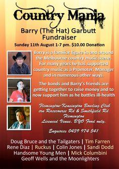 Country Mania, Barry Garbutt, Doug Bruce, Tim Farren, rene Diaz Fundraiser to help Barry.