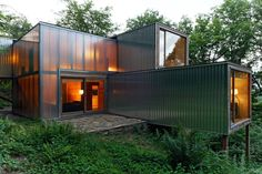shipping container home Container Architecture, Architecture Metal, Container Buildings, Shipping Container Design, Shipping Container House Plans, Shipping Containers, Container Conversions, Tiny Living Rooms, Tiny House Community