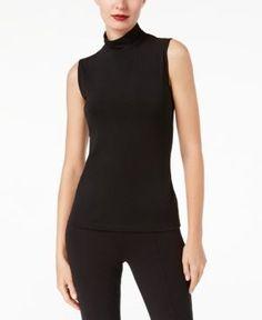 Anne Klein Knit Mock-Neck Top - Black XL