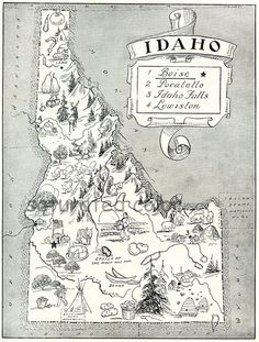 Vintage Idaho Map- 1950's