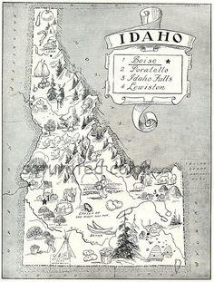 Idaho Map ORIGINAL Vintage 1950s PIcture Map ~ Delightfully Amusing ~ Charming & Fun