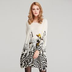 Autumn Long Casual Coat Batwing Sleeve Print Women's Sweaters Like if you are Excited! Visit us