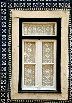 Portugal Window Detail, Yet I Pinned it For It's Wonderful Pattern and Color Block Play.