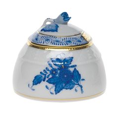 Amazon.com: Herend Chinese Bouquet Blue Honey Pot With Rose Lid: Home & Kitchen