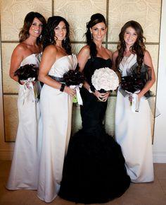 Black & White Wedding Love ~ Bride & Bridesmaids ~ #black #weddinggown + #white #bridesmaids #dresses #wedding #bouquet @WedFunApps wedfunapps.com ♥'s