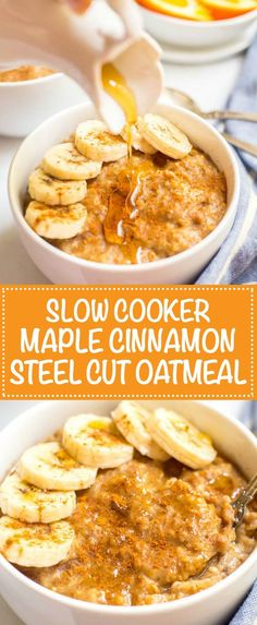 Slow cooker maple cinnamon oatmeal is prepped the night before and ready in the morning! | Breakfast | Healthy