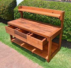 Eli's Potting Bench (Options: Old-Growth Redwood, Casters, 2 Shelves, Copper Inset for Right Drawer, No Engraving, Removable Lid on Right Side, Transparent Premium Sealant).  potting bench