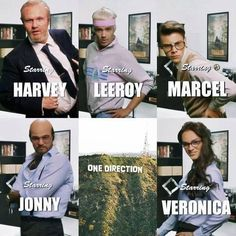 Niall as Harvey, Liam as Leeroy, Harry as Marcel, Louis as Jonny, and Zayn as Veronica! :) Best song ever is the Best music video ever!!!