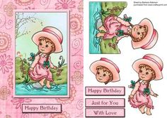 Dipping her Toe on Craftsuprint designed by Barbara Alderson - tep by step decoupage on a card front with a choice of sentiments - Now available for download!