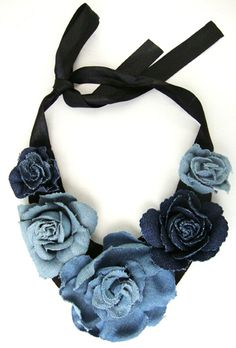 #DIY refashioned #denim #jeans #necklace