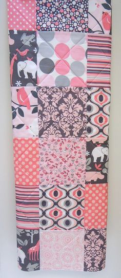 Baby Quilt Girl Birds Elephant Giraffe Gray by NowandThenQuilts