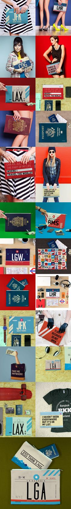 Travel inspired pouches - Travel quotes, airport codes...  #travel #airport #fashion