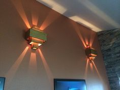 Oak wall sconces. Hand made, 28 individual pieces of wood.
