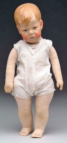 Cloth Doll; Kruse (Kathe), Character Child, Doll I, Wide Hips, Painted Features, 16 inch. Retains original undergarment.