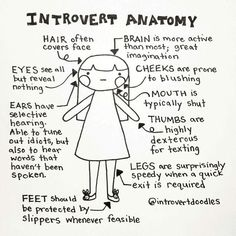 I Doodle Introvert Comics To Express How I Feel - Introvert Anatomy * ha! Introvert Vs Extrovert, Introvert Girl, Introvert Personality, Introvert Quotes, Introvert Problems, Personality Types, Leadership, Nerd, Humor Grafico