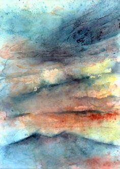 """""""Alba sul Vesuvio"""" Luigi Barra 50x70 cm  Watercolor on paper"""