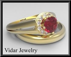 imagine the look on her face as you ask her hand and slip this beauty on her finger!  engagement ring details: 14K white/yellow/rose, about 3.2Gr.   gemstone: red ruby  carat weight: about 0.65ct  color/clarity: clear deap red, VSI  size/cut/shape: 5mm round cut, very good   gemstone: diamond  carat weight: total 0.11ct  color/clarity: G-H, SI1-2  size/cut/shape: 11 stones x 1.3mm round, very good  setting: pave   wedding ring details:  14K white/yellow/rose, about 3Gr. $1690