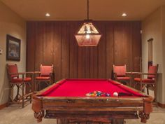 Gather the guys around for pool and accompanying wet bar.