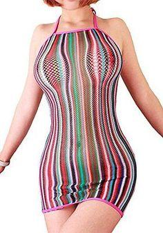FasiCat Women Lingerie Rainbow Fishnet Babydoll Halter Stretch Chemise