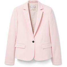 Structured Cotton Blazer (5.750 RUB) ❤ liked on Polyvore featuring outerwear, jackets, blazers, flap jacket, long sleeve jacket, lapel jacket, cotton blazer and mango jacket