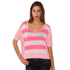 Vibrant Neon Pink & Ivory Bold Stripe Crop Top Shirt Timing. $23.99