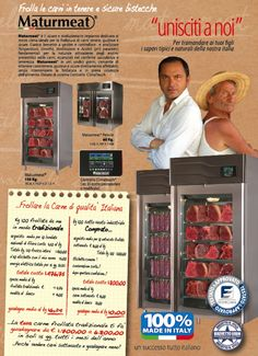 Maturmea™ dry aging meat system  by Alessandro Cuomo brevetti Milano. www.arredoinox.it plug in systems from 60kg. To 1.200kg