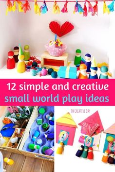 Small world play encourages imaginative, child-led, open-ended play. Small worlds lend themselves to all themes, materials, and situations. Here are 12 of our favourite simple and creative small world play ideas. #imaginativeplay #smallworldplay #playmatters