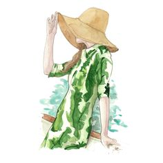 Straw hat and banana leaf print dress. #pinodesk #fashionillustration