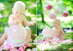 first birthday cake smash on grass with flowers
