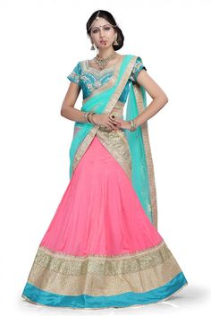 Party Wear Silk Lehanga Choli in Pink ColourIt comes with matching Dupatta and Choli.It is crafted with Lace Work,Embroidery Design...
