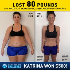 teaminternallyfit.com  #toddgreenefitness  Katrina Buening lost 80 lbs. with FOCUS T25, Shakeology, and the Beachbody Performance supplements. She entered her results into the Beachbody Challenge, a