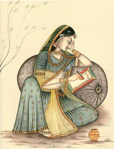 Indian art of Miniature painting of woman writing letter Ancient Indian Paintings, Rajasthani Miniature Paintings, Rajasthani Painting, Rajasthani Art, Indian Women Painting, Mughal Paintings, Indian Art Paintings, Madhubani Art, Madhubani Painting