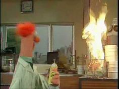 Dr. Bunsen Honeydew and Beaker demonstrate fireproof paper