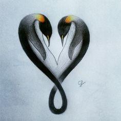 47 Ideas For Tattoo Couple Penguin Doodle Tattoo, Tatoo Art, Arm Tattoo, Body Art Tattoos, Small Tattoos, Tatoos, Penguin Art, Penguin Love, Cute Penguins