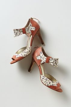 """- By Miss Albright  - Anthropologie exclusive  - Fits true to size - Back zip  - Fabric, leather, plastic upper - Leather insole, sole - 3.5"""" stacked leather heel - Imported"""