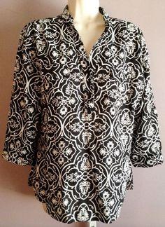 fe946e8f9d095 Carole Little Top Tunic L Linen Blend 3 4 Sleeve Blouse  CaroleLittle  Tunic
