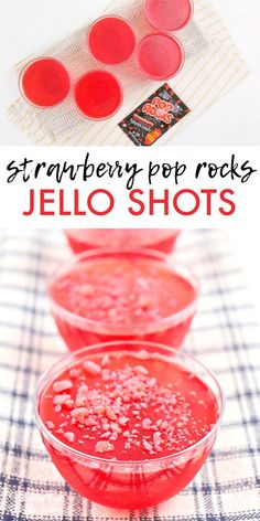 Strawberry Jello Shots with Pop Rocks will be the hit of your next summer get to. Strawberry Jello Shots with Pop Rocks will be the hit of your next summer get together! The great flavor with the pop and crunch of pop rocks is just so fun. Alcohol Jello Shots, Best Jello Shots, Jello Pudding Shots, Alcohol Drink Recipes, Summer Jello Shots, Fun Drinks Alcohol, Fun Shots, Best Alcohol For Shots, Shot Ideas Alcohol