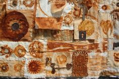 Wallhanging, rusted textiles and found objects 2012, by Natalie Magnin / MetalloTextile