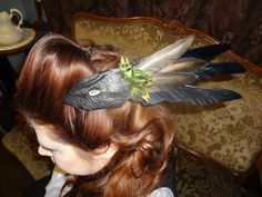 Evil Eye - Steampunk / Twisted Victorian Leather Fascinator with Hand-Painted Crystal Quartz Eye by RunesofRagnarok, $29.99