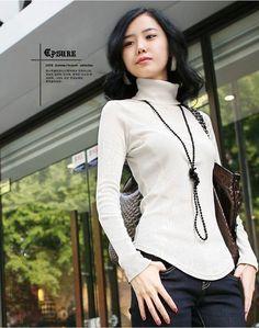 Available in Large Sizes Autumn women's slim pullover plus size long design basic turtleneck turtleneck shirt female long sleeve sweaters 309# Autumn