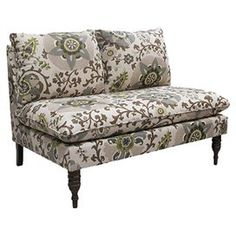 "Pillow-top loveseat with medallion-print upholstery and spindle legs. Handmade in the USA.     Product: SetteeConstruction Material: Solid pine, polyurethane and polyester fill foamColor: Silsila rhinestoneFeatures: Handmade in the USADimensions: 35"" H x 49"" W x 35"" DNote: Easy assembly requiredCleaning and Care: Spot clean only"