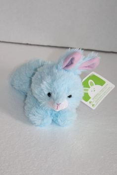 "Hugfun Intl Easter Bunny Rabbit Blue plush soft Walmart 6"" small toy Laying mini #HugfunInternationalInc"