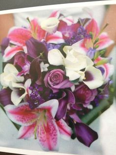Love this bouquet, but without the big pink flowers (Easter Lilly?)