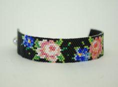 Hand beaded flower bracelet.Black Bracelet.Floral by nepinka