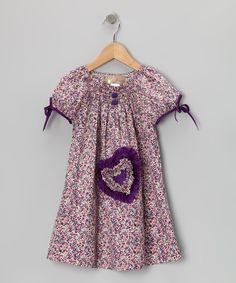 Lele Vintage Purple Smocked Heart Dress - Toddler & Girls