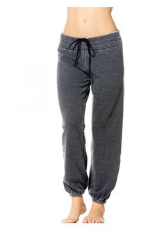 Burnout Drawstring Flat Waist Pull On Pant